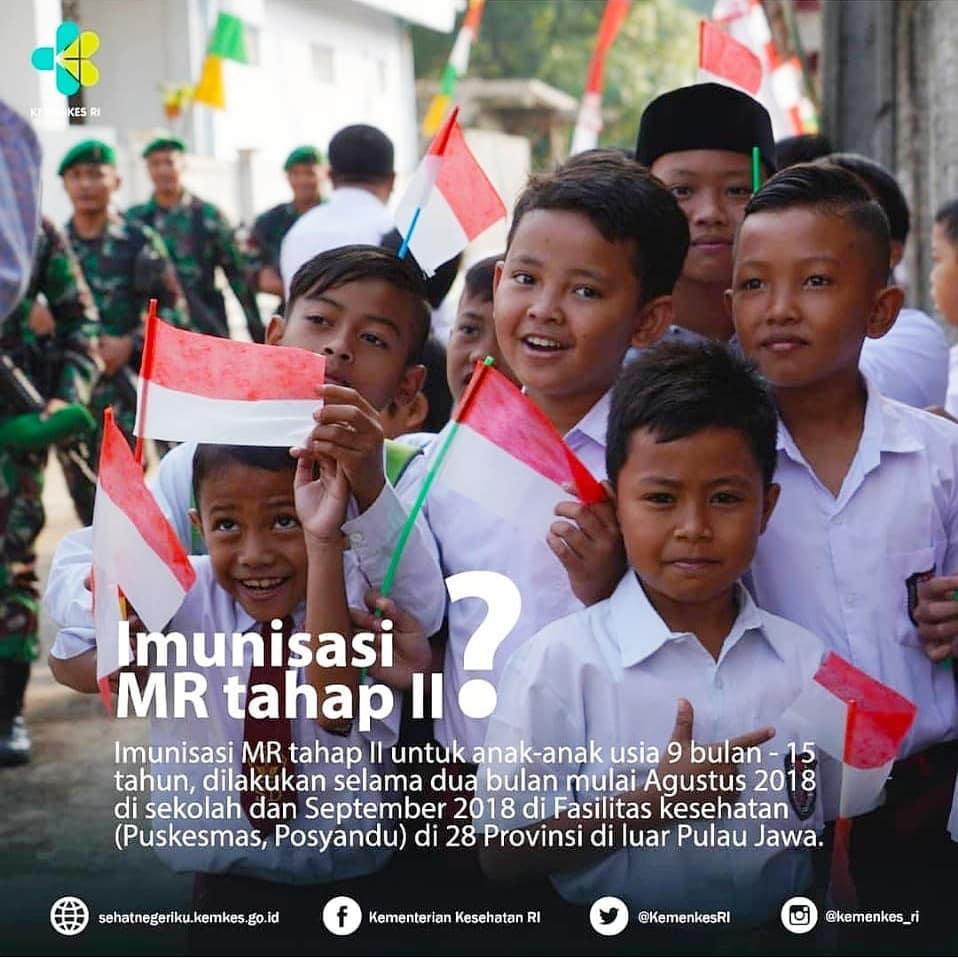 Imunisasi MR fase II dilaksanakan pada bulan Agustus dan September di tahun ini. Sejumlah 395 kabupaten/kota dan 6.369 puskesmas di 28 Provinsi di luar Pulau Jawa akan melaksanakan kampanye imunisasi MR yang menyasar kelompok paling rentan tertular penyakit Campak dan Rubella, yakni anak-anak berusia 9 bulan sampai dengan kurang dari 15 tahun. Sebanyak 31,8 juta anak berkesempatan untuk mendapatkan kekebalan spesifik dari bahaya penyakit Campak dan Rubella.