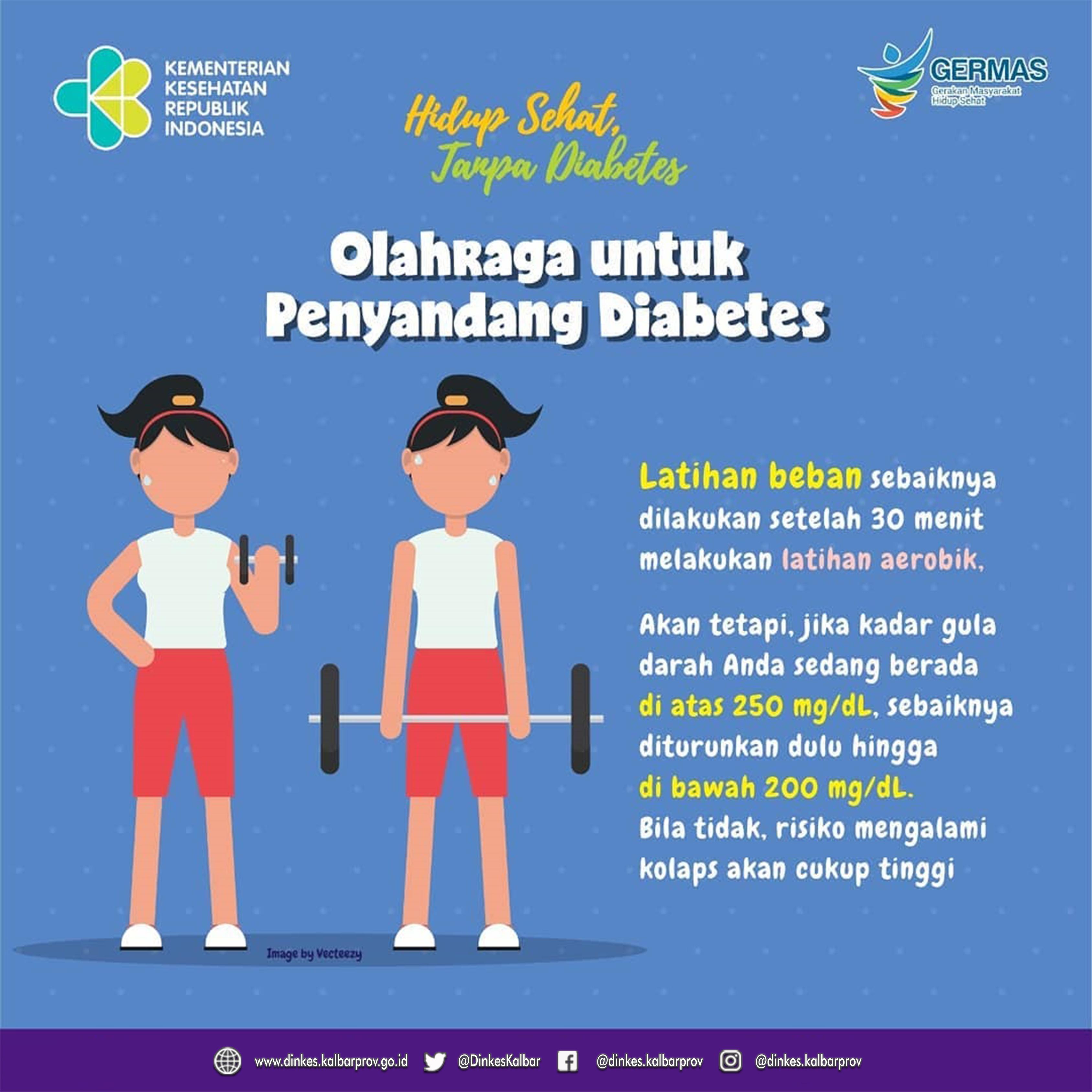 Sebelum Anda melakukan olahraga, perhatikan hal-hal berikut ini agar olahraga yang dilakukan dapat terukur dengan benar dan dapat menstabilkan kadar gula darah Anda.  #CERDIK #CegahPTM #DukungGERMAS #hidupsehattanpadiabetes