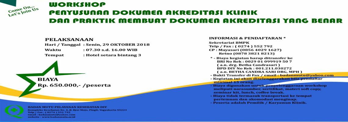 Workshop Penyusunan Dokumen Akreditasi Klinik Dan Praktik Membuat Dokumen Akreditasi Yang Benar
