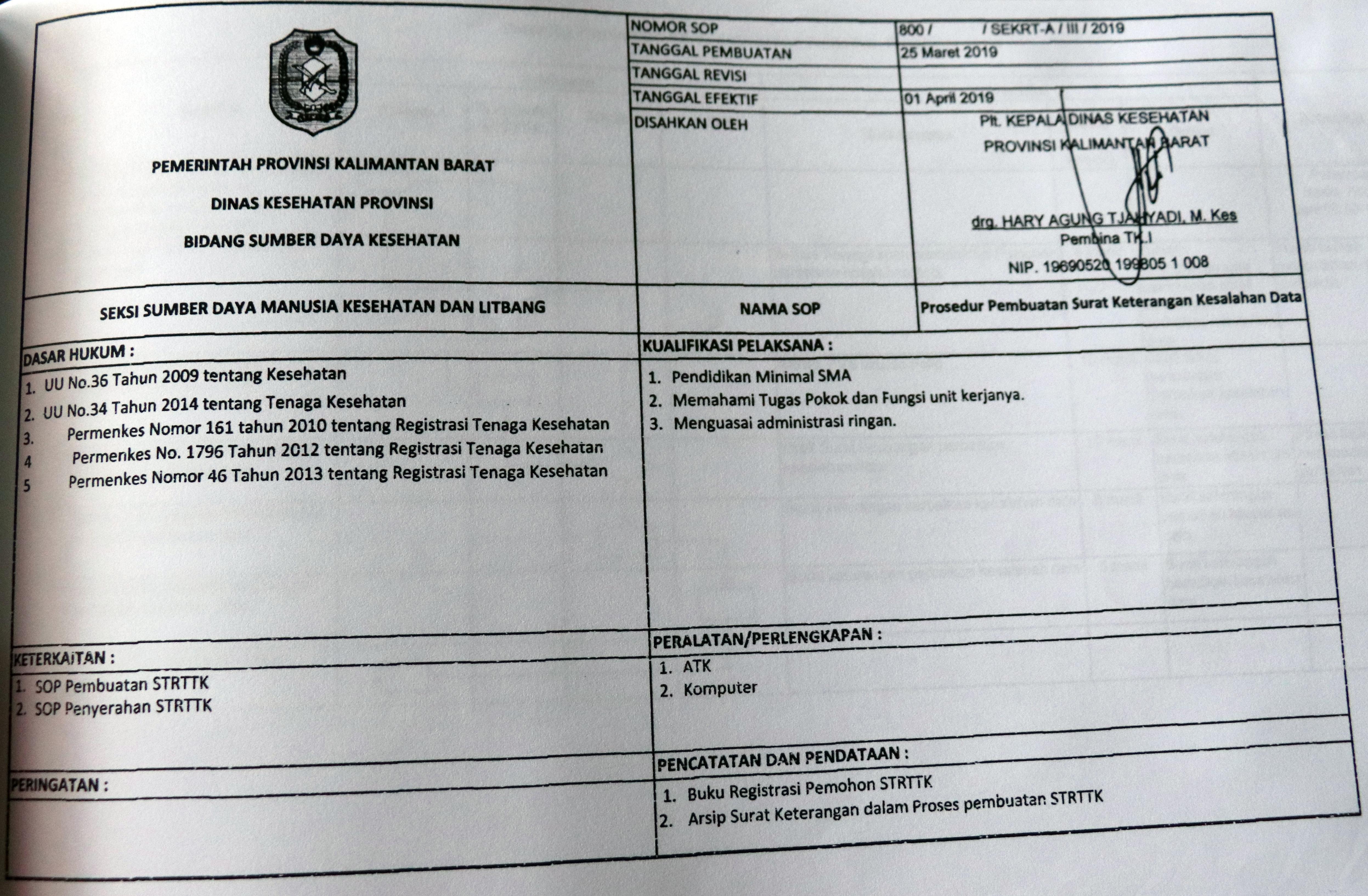 Standar Operasional Prosedur Dinas Kesehatan Pemerintah